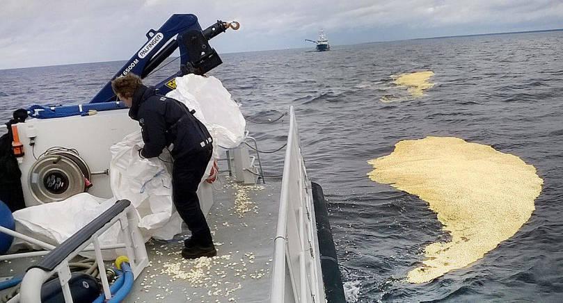 POPCORN Under övningen fångade man in popcorn i havet som skulle föreställa olja. Att använda popcorn är bra eftersom det är miljövänligt och bättre än skum som snabbt löses upp säger Dag Lindholm från Ålands Sjöräddningssällskap som deltog i övningen.