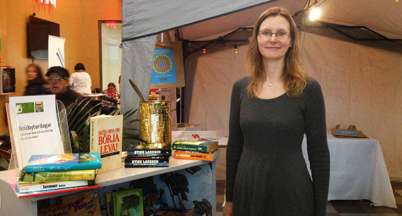 BOKBYTE Maria Törnqvist höll i en bokbytardag på Maxinge.