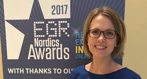 PRISAD Pafs spelansvarschef Daniela Johansson tog emot priset på galan.