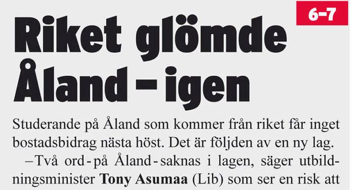 Två ord saknas i lagen, konstaterade utbildningsminister Tony Asumaa i Nya Åland i början av januari. Snart kan de vara där.
