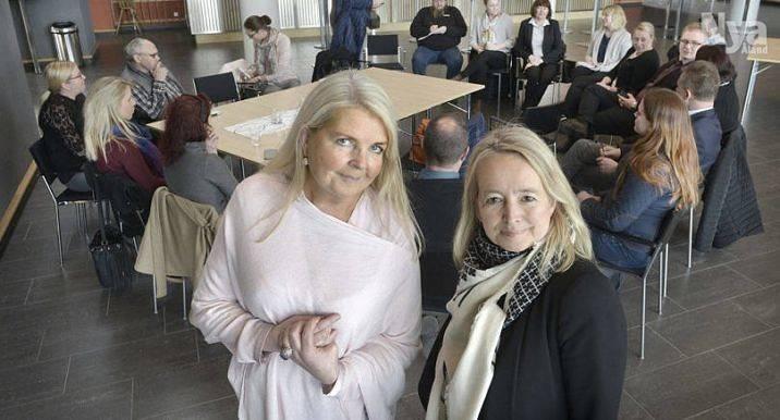 Havsviddens marknadsföringschef Bitte Islander och Ann-Louise Djupsund, Alandica, tog initiativ till branschens möte om Visit Åland i går.