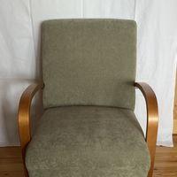 Asko Fåtölj/stol i retrostil lampa fotpall matta ing